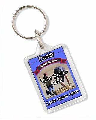 Personalised Photo Daddy Happy Birthday Love From Any Name Keyring Gift AK244