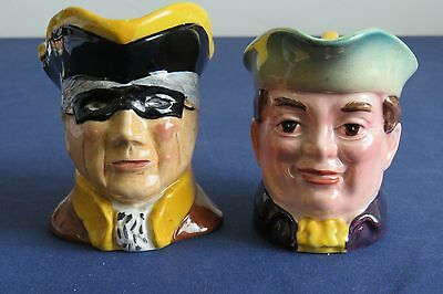 """Toby Character Jugs - Beswick Mr Varden 1204 and unmarked Highwayman -  3"""" tall"""