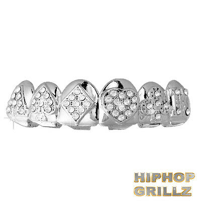 Silver Grillz Plated Teeth Mouth Top Poker Iced Out Grills Top Bling Hip Hop Rap