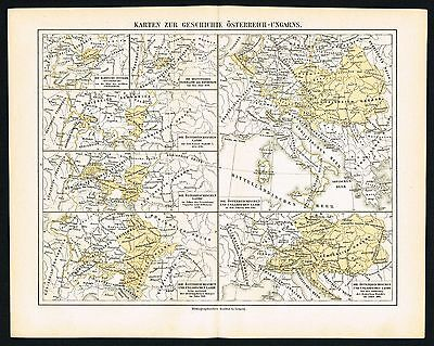 AUSTRO-HUNGARIAN EMPIRE, BORDERS TIMELINE - ca 1890 Antique Map - Meyers