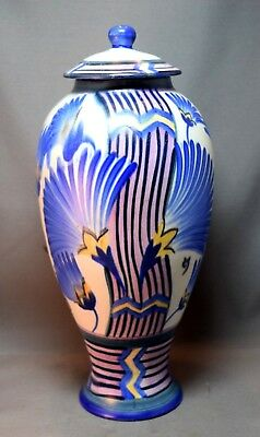RARE Carlton Ware Egyptian Palm Geometric Design Large Covered Jar! WOW!