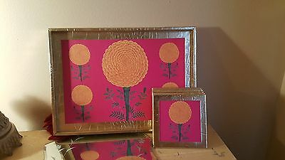 Gold Flowers Tray with 6 Coasters