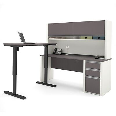 Bestar Connexion L-Desk with Hutch including Electric Height Adjustable...