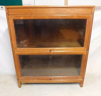 Antique Globe Wernicke Style Bookcase - 2 Section - Glazed - Oak
