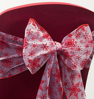 Christmas Flock Organza Chair Sashes / Table Runner/ Roll Red Snowflake Xmas