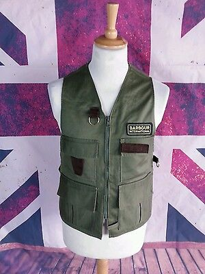 #121 Barbour International Mens Vintage Green A350 Fly Fishing Vest, Small