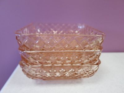 3 Vintage Pink Federal Glass Diamond Lattice Square Dishes Depression Candy Bowl