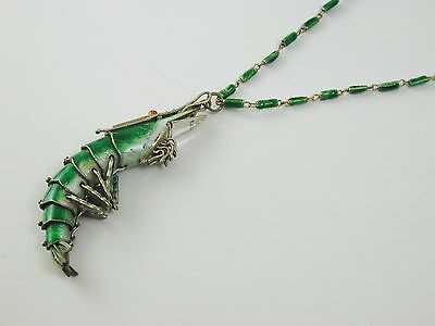 """Rare articulated prawn necklace pendant Chinese silver green enamel 24"""" long"""