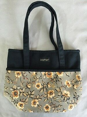Khaki Floral And Black Small Tote Longaberger Lunch