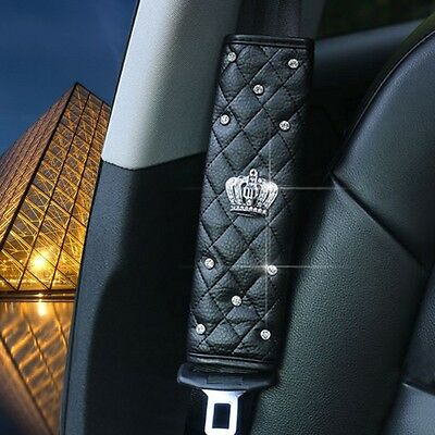 Luxury Crown Rhinestone Covered Seat Safety Belt Covers/Shoulder Padding BLACK