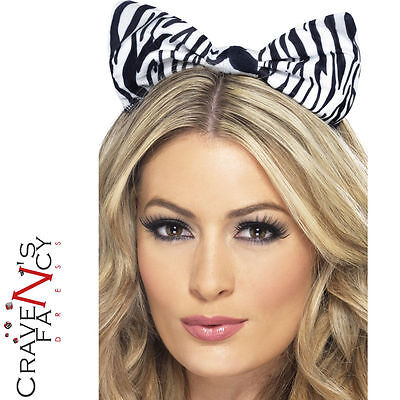 Adult Zebra Print Bow Animal Ears Headband Ladies Fancy Dress Costume Accessory