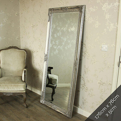 Extra Large silver full length wall floor mirror shabby vintage chic bedroom