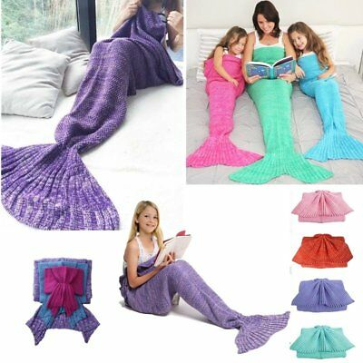 Knitted Mermaid Blanket Tail for Kids and Adults Super Soft and Fashion