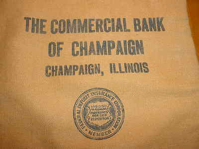 Vintage Zippered Deposit Money Bag forThe Commercial Bank of Champaign, Illinois