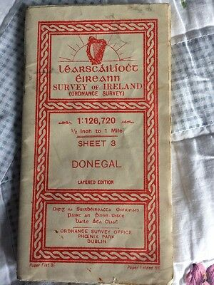 "Vintage (1950's) OS Map Of Donegal 1/2"" To 1 Mile"