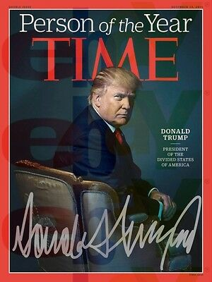 REPRINT RP 8x10 Signed Autographed Photo: Donald Trump 2016 Person of the Year