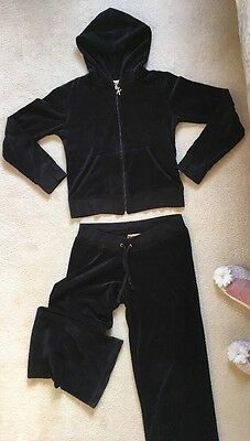 Ladies/girls Black Velour Hooded Track Suit Size Small 10/12