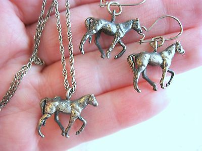 Three Piece Sterling Silver Antique Prancing Horse Pendant Necklace Earring Set