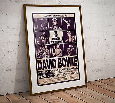 David Bowie 1972 First American Concert Poster Print In Two Sizes New Exclusive