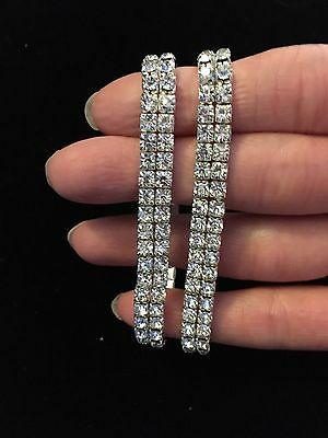Double Row Clear Rhinestone Bracelets, Wholesale Lot Of 10
