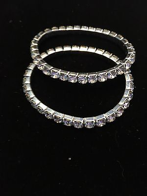 Single Row Clear Rhinestone Bracelets, Wholesale Lot Of 10