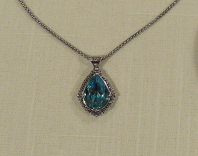 Vintage STERLING Silver 925 Faux Aquamarine Teardrop Pendant Necklace on Chain