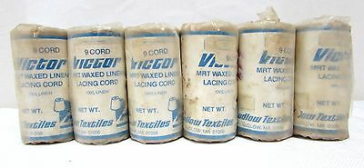 """VICTOR waxed linen lacing cord 4 oz """"9 cord"""" Ludlow Textiles USA Set of 6"""