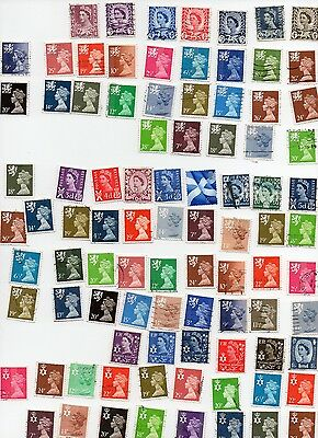 GB Regional Issues 90 Stamps All Different and Off paper