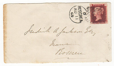 Stamps-Ireland: 1869 penny red on cover with clear Irish Postmark