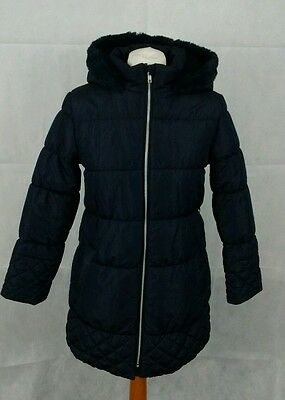 Blue Zoo Girls navy faux fur lined hooded coat , age 11-12 lovely condition