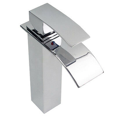 Waterfall Counter Top Basin Mixer Tap Taps Bathroom Sink Tall Chrome faucet S*