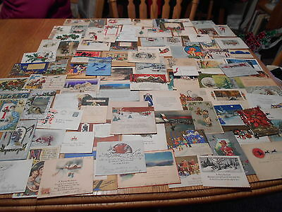 100 Vintage Christmas Cards/Postcards Lots of 1920's Used/in great shape