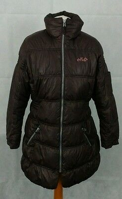 NEXT girls padded winter jacket, chocolate brown, retractable hood age 11-12