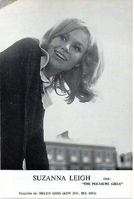 SUZANNA LEIGH acting agency Z card THE PLEASURE GIRLS 1965