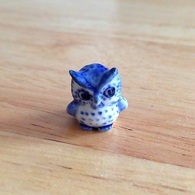 Miniature owl graden ceramic figurines 1.5cm height pottery bird collectible