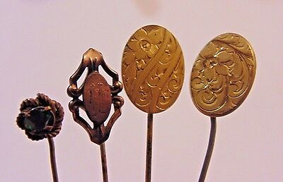 Victorian Art Deco Gold Filled Gold Plated Stick Pin Lot 4 Pieces  9259