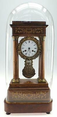 Very Impressive Antique French Rosewod & Bronze Portico Mantel Clock Under Dome