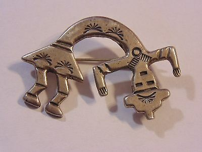 Vintage Native American Sterling Silver 925 Sand Cast Yei Pin Brooch  95411