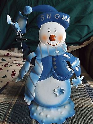 Metal Christmas Snowman Holiday Decoration White & Blue