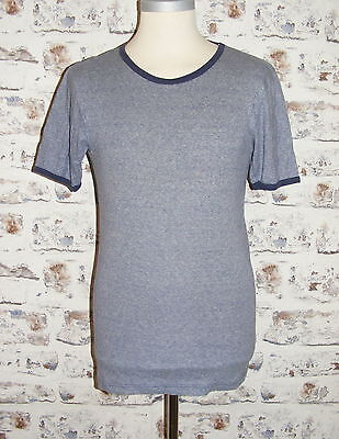 Size M vintage 70s short sleeve crew neck skinny t-shirt mid blue stripe (GY28)