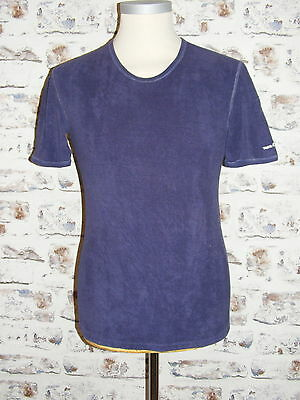 Size M vintage 70s short sleeve skinny crew neck t-shirt navy towelling (GY37)