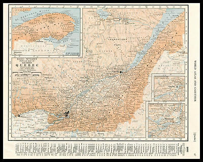 QUEBEC Canada Province St. Lawrence River 1946 antique color lithograph Map