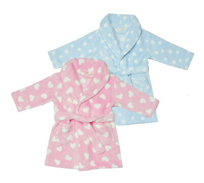 Baby Babies Fleece Dressing Gown Printed Robe Stars Hearts Infant By BABYTOWN