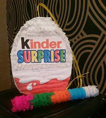 """Large Kinder Surprise Egg Pinata 14"""" filled with Sweets Birthday Party & Stick"""