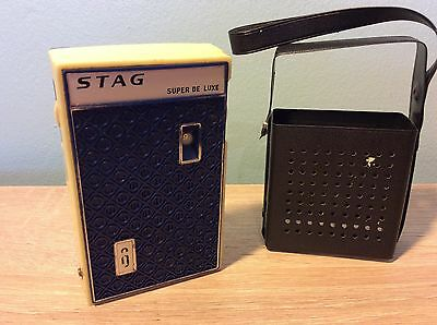 Vintage working portable transistor radio, Stag Super De Luxe # 6 1960's 1970's