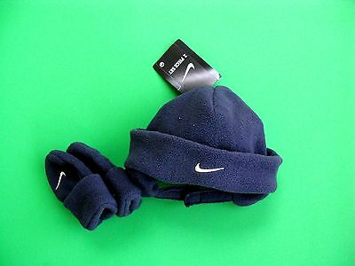 Nike dark Blue Fleece Baby Boys Knit Hat and Mittens Set 12-24 months NWT