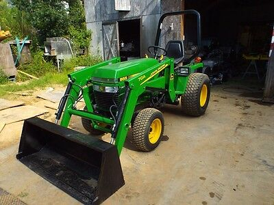 John Deere 855 Tractor with Front End Loader and Belly Mower
