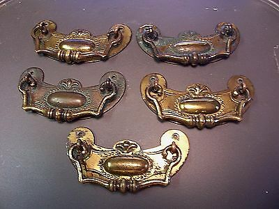 (5) Antique / Vintage  Brass Drawer Pulls / Handles -- Solid Brass -- W/ Screws