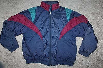 Vintage 80s 90s Tracksuit Windbreaker Mens L Navy Blue Track Jacket Coat Nylon