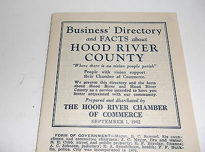 Bussiness Directory, Facts, Hood River County Oregon, Sept. 1942. Brochure